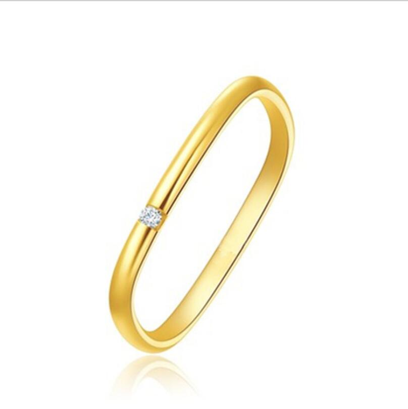 Gold-plated square circle solitaire diamond ring for women