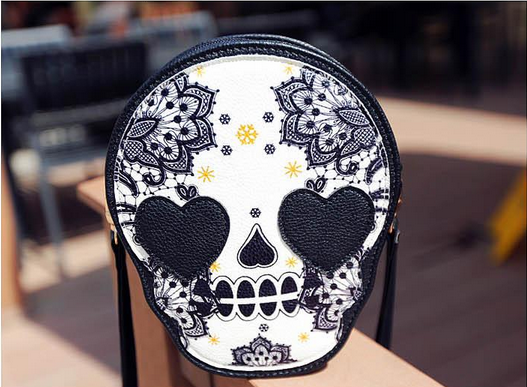 Retro Skull Printed Tassel Zip Mini Shoulder Bags