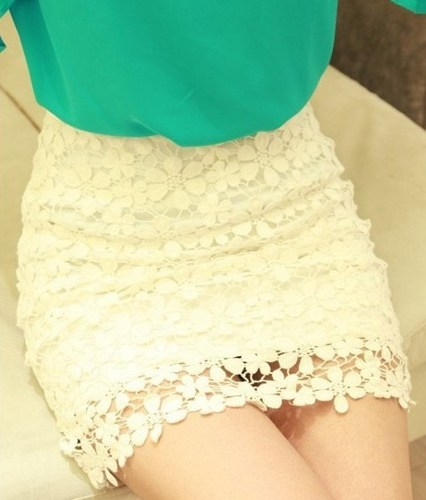 Fashion Nice Crochet Lace High Waist Mini Dress