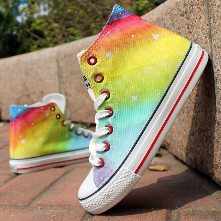 Fashion Stars Pattern Rainbow Color Hand Painted High Top Canvas Sneakers
