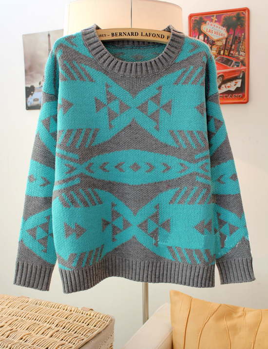 Sexy Blue Pop Art Geometric Abstract Fish Bones Pattern Sweater