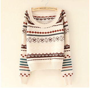 Fashion Argyle Geometric Flower Pattern Sweater