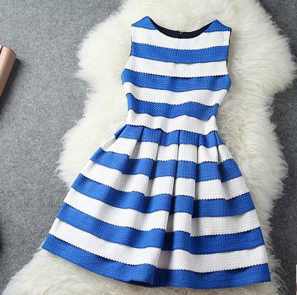 Cute Stripes Skater Dress In Blue And Black
