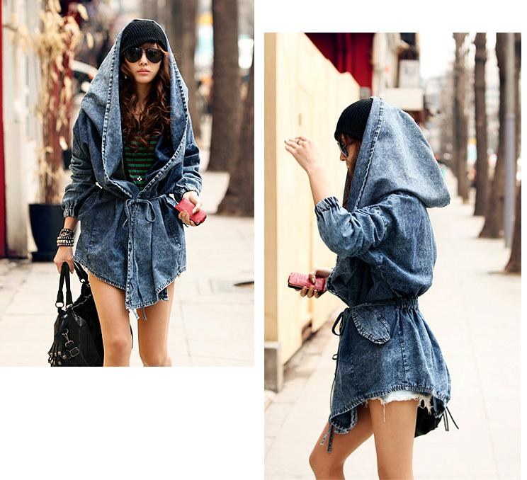 Sexy Fashion Women Lady Denim Trench Coat Hoodie Hooded Outerwear Jean Jacket Cool