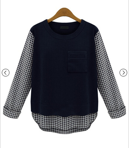 Navy Contrast Plaid Long Sleeve Pocket Blouse