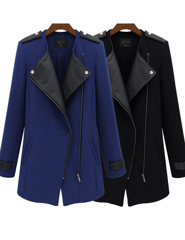 Pu Lapel Slanting Zipper Collarless Woolen Coat