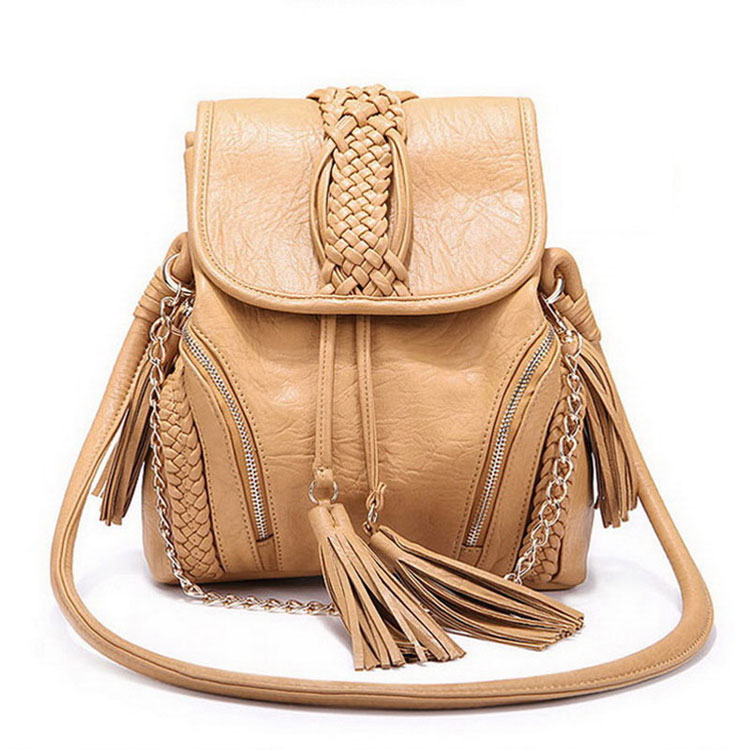 Unique Weave Bucket Tassel Shoulder Bag