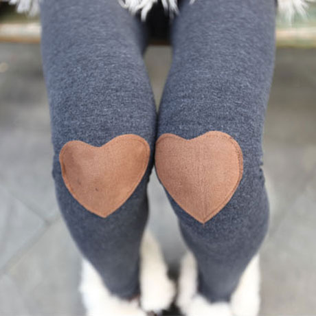 Fashion Gray Knee Love Patch &Leggings