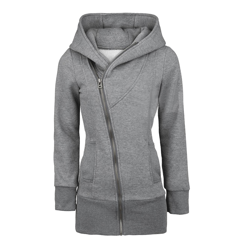 Women'S Leisure Front Zip Zippered Plus Size Pure Color Hoodie Hooded Jacket Coat