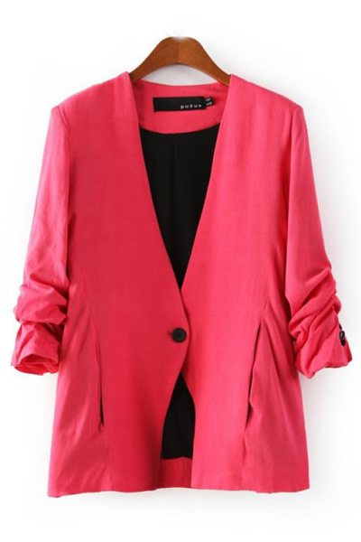 New Style Ruffled Sleeves Single Buckle Designed Solid Rose Cotton Blend Blazer