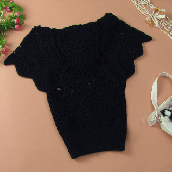 Elegant Floral Crochet Hollow Out Batwing Sleeve Shirt - Black