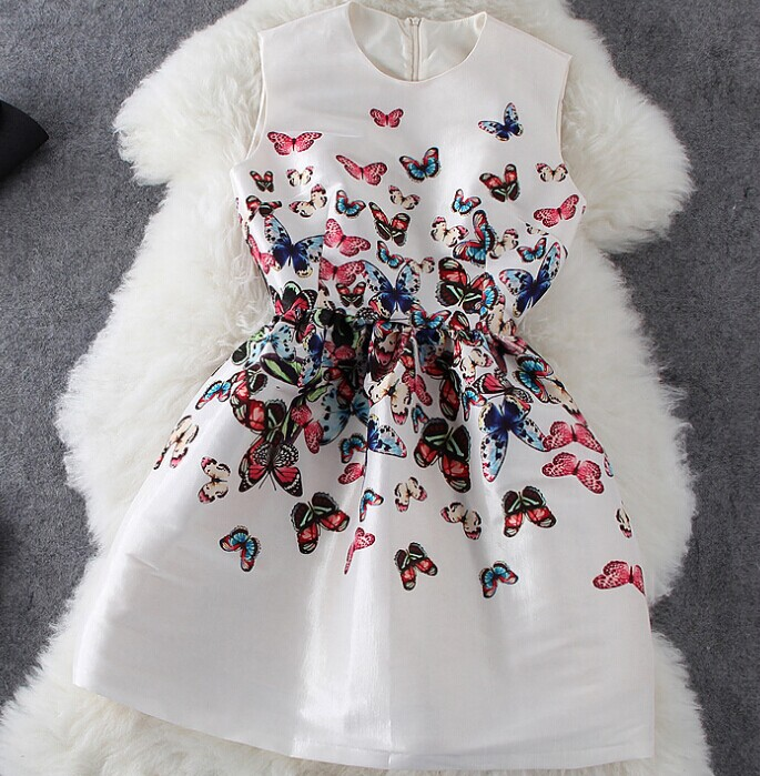 Butterfly Print Sleeveless Dress AFCHGE
