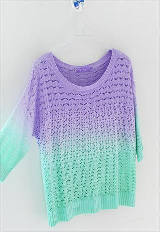 Colorful Gradient Hollow Pullover Sweater-878 A 081904
