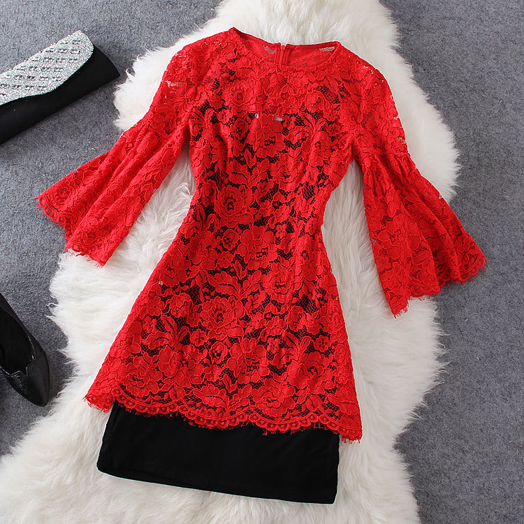 Fashion Red Lace Dress ( Two-piece ) GH804CE