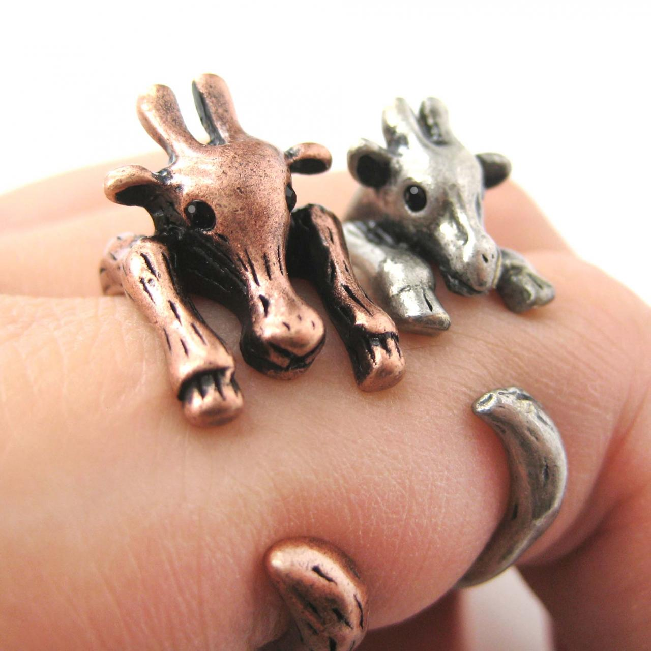 Large Giraffe Animal Wrap Ring In Copper Sizes 4 To 9 US Realistic And Cute!