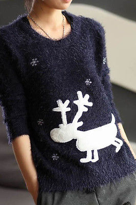 Women Lady Navy Reindeer Christmas Winter Knitted Autumn Sweater Cardigans Coats