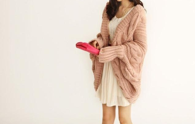 New light pink Lady Loose Warm Sweater Coat Wool Knit Cardigan Batwing Outwear