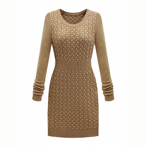 01c1fae69e3 Elegant O-Neck Tight Waist Knit Long Sleeve Sweater Dress on Luulla