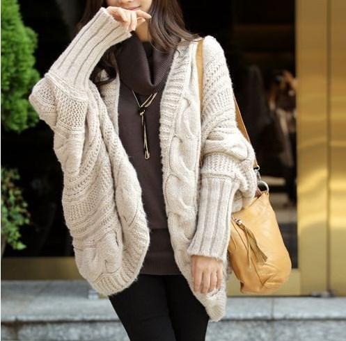 Beige New Lady Loose Warm Sweater Coat Wool Knit Cardigan Batwing Outwear