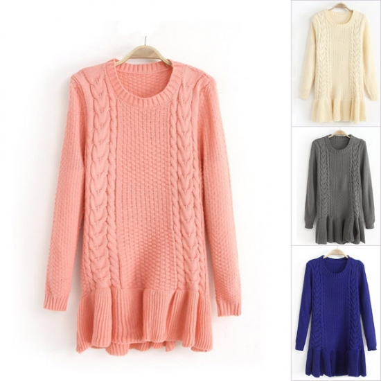 Fashion High Quality Twist Pattern Falbala Hem Slim Fit Pullover Woolen Sweater For Woman
