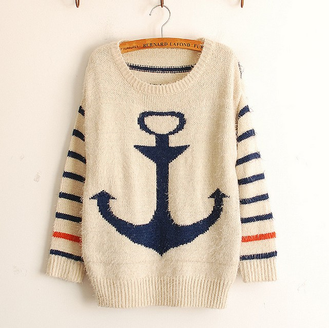 Fashion Blue Pullover Navy Anchor Stripe Mohair Sweater