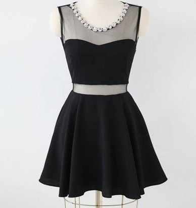 Sexy Charming Short Little Black Dress With Mesh Insert