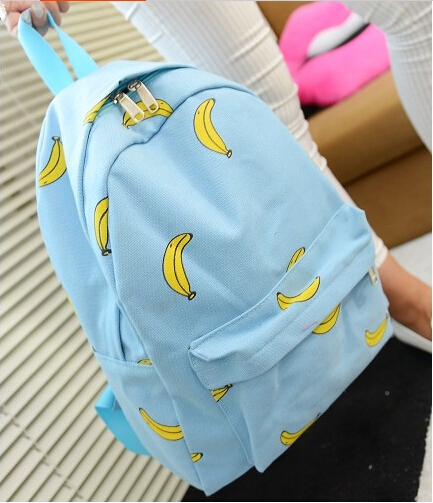 2015 new Cute Banana Print School Girl Backpack