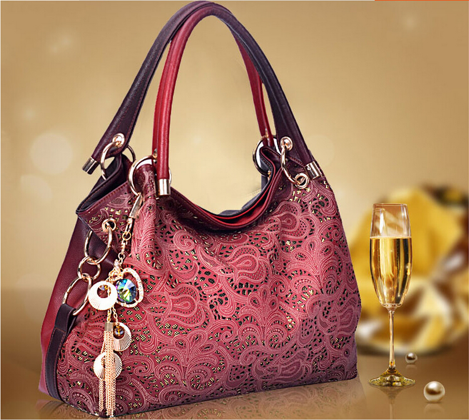 2015 New fashion women Vintage Hollow Auspicious Printed Clouds Carving Handbag