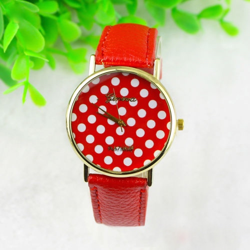 Red Polka Dot Leather Bracelet Vintage Retro Woman Unisex Watch