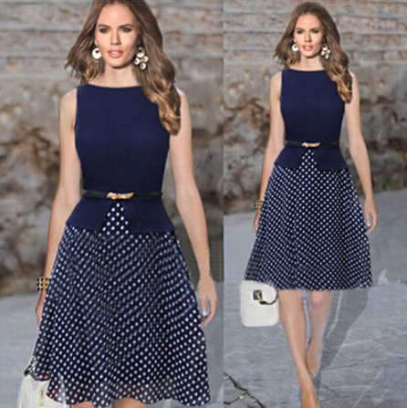 2015 hot summer Women's Polka Dots Fit Flare party Dresses
