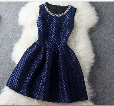 Hot sale New Vintage Blue Handmade Beading Party Dress &Dress