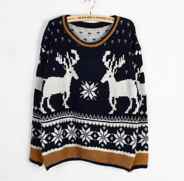 Christmas Moose Elk Sweater Soft Comfortable Black And Gray Sweaters for women