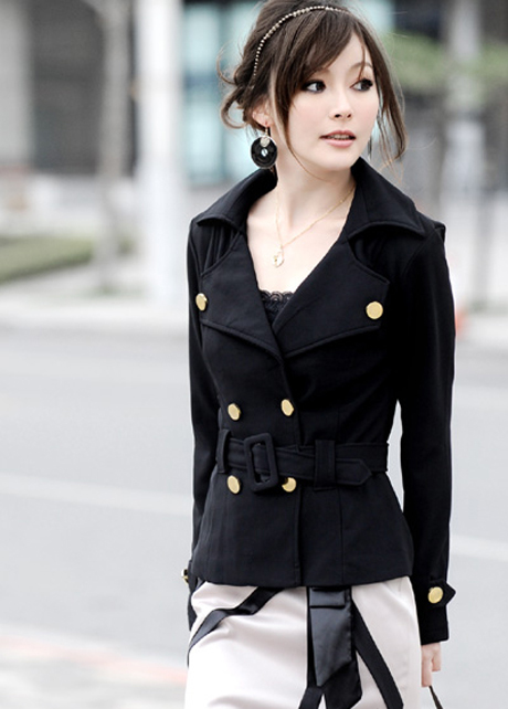 Double Breasted Black Cotton Spring Coat TUMPWSJQ4RIALJJWWDP50 Z2IN2X8XCD4