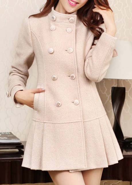 Elegant Double Breasted Beige Pleated Fashion Coat 4X00AF811V1SG78T2NGBN 8GXYOMJ2NV7