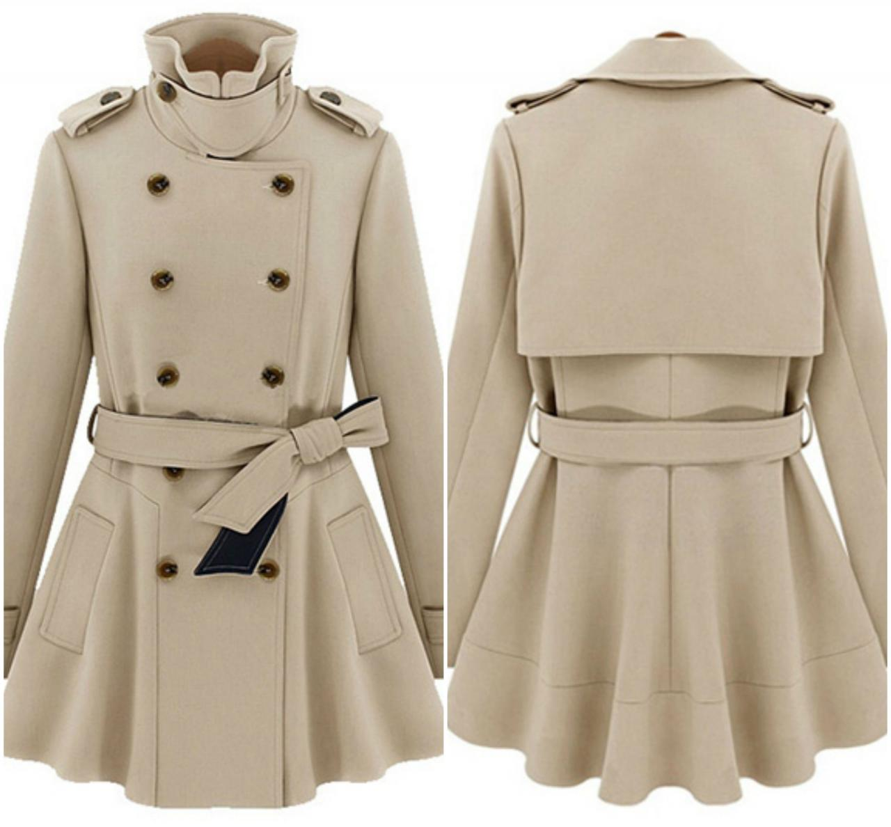 Stylish Double Breasted Turn Down Collar Trench Coat