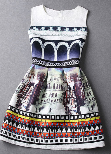 2015 Hot sale Cute Printed Sleeveless Skater Dress