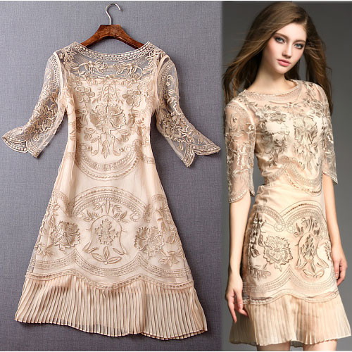 Embroidered Gauze Asymmetrical Sleeve Slim Pleated Hem Dress