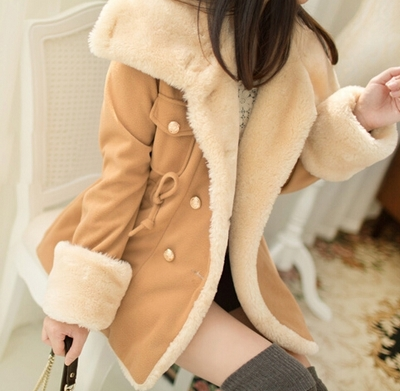 2015 Beautiful Light Tan Turn Down Collar Winter Coat