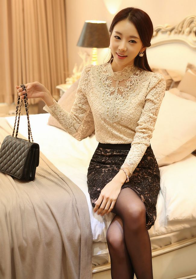 Black Sexy Elegant Beaded Lace Blouse