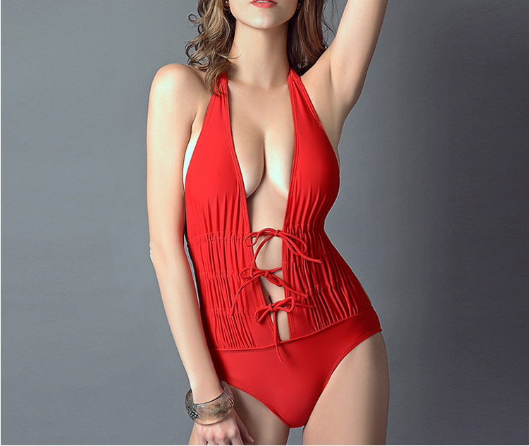 One-Piece With Breast Pad Without Steel Pure Color Sexy Bikini