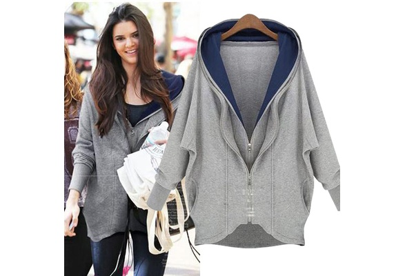 Women Fashion Long Sleeve Irregular Hoodie Coat Hooded Sweatshirt