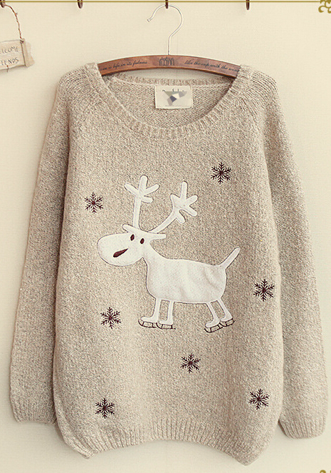 Women'S Fashion Snow Elk Round Neck Loose Knit Christmas Deer Pullover Sweater