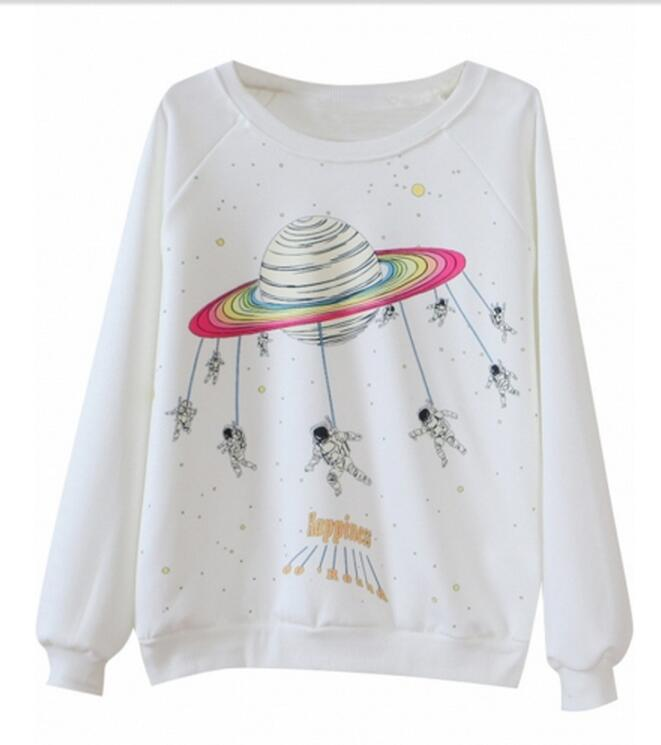 Free shipping New design Outer Space Pattern Pullover Sweatshirt