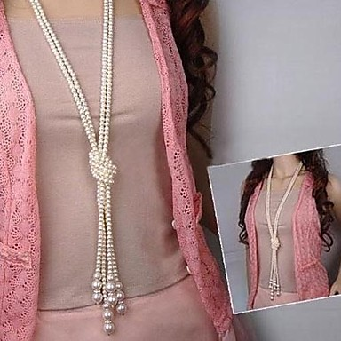 New Fashion Pearl Multilayer Tie a Knot Long Necklace for 2016 Valentine's Day and mother's Day