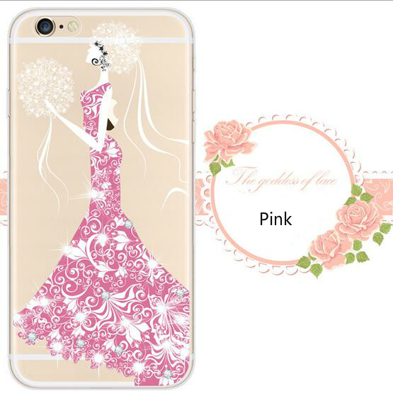 New women with flower Creative inlaid diamond iPhone6s 6plus Phone Case