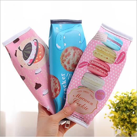Cute cartoon simulation biscuits students stationery bag pen bag