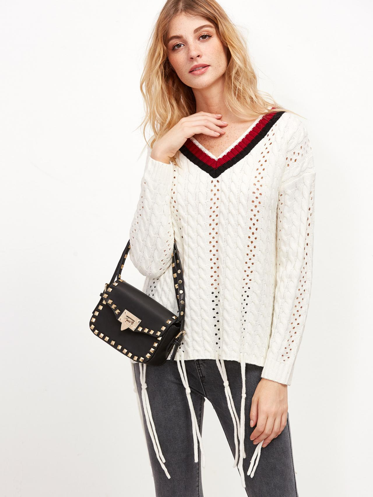 Plunge V Open-Knit Sweater Featuring Stripes Neckline and Knotted String Hem