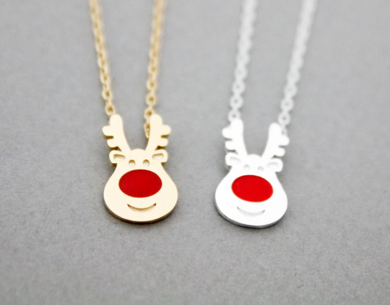 Rudolph the Red Nose Reindeer pendant necklace