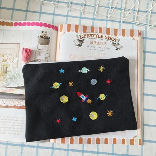 Free shipping Planets Galaxy Hand embroidery makeup storage bag #268