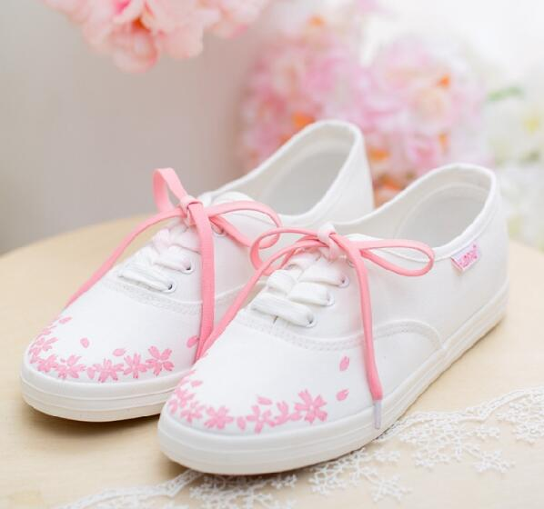 Sakura Hand-Painted Lace-Up White Sneakers